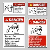 señal de peligro área de protección para los oídos y los ojos, la falla puede resultar en daños auditivos y visuales vector