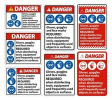Danger Gloves,Goggles,And Face Masks Required Sign On White Background vector
