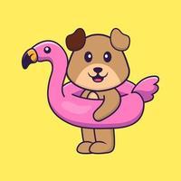 lindo perro con boya flamingo. aislado concepto de dibujos animados de animales. Puede utilizarse para camiseta, tarjeta de felicitación, tarjeta de invitación o mascota. estilo de dibujos animados plana vector