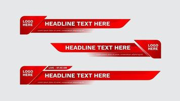 lower third template red color. Set of TV banners and bars for news and sport channels, streaming and broadcasting. Collection of lower third for video editing on transparent background. vector