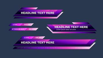 Purple lower third pack with modern colorful. Vector video headline title or television news bar design template isolated on white background.