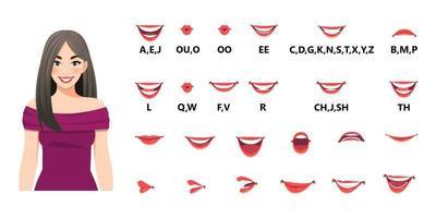 conjunto de animación de boca. las bocas pronuncian letras. movimiento de los labios. Varias opciones de boca abierta con labios, lengua y dientes. ilustración vectorial aislada vector