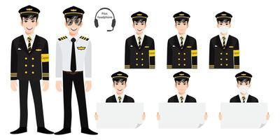 Cartoon character with airline captain in uniform with smile , medical mask and holding poster template. Set of vector isolated illustrations