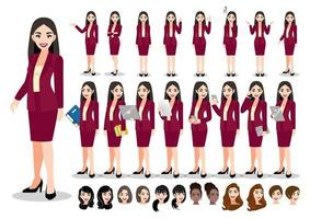 Businesswoman cartoon character set. Beautiful business woman in office style smart suit . Vector illustration
