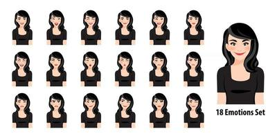 Beautiful lady in black dress with different facial expressions set isolated in cartoon character style vector illustration