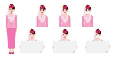 Cartoon character with Muslim air hostess in pink uniform with smile , medical mask and holding poster template. Set of vector isolated illustrations