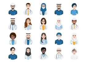 Big bundle of different people avatars. Set of medical or doctor team portraits. Men and women avatar characters. vector