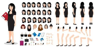 Businesswoman cartoon character creation set with various views, hairstyles, face emotions, lip sync and poses. Parts of body template for design work and animation. vector