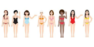 Cartoon character with female in swimming suit collection set for summer vector