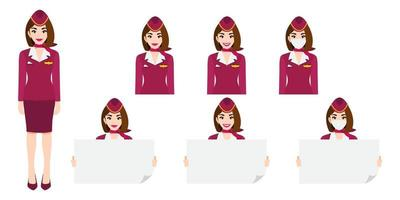 Cartoon character with air hostess in pink uniform with smile , medical mask and holding poster template. Set of vector isolated illustrations