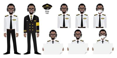 Cartoon character with Amarican African airline captain in uniform with smile , medical mask and holding poster template. Set of vector isolated illustrations