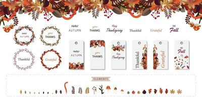 Autumn flower and leaf tag and wreath set. Thanksgiving festival design vector