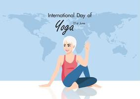 Cartoon character with 21 june international yoga day with female practicing yoga flat icon design vector illustration