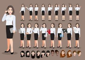 Businesswoman cartoon character set. Beautiful business woman in office style smart shirt . Vector illustration
