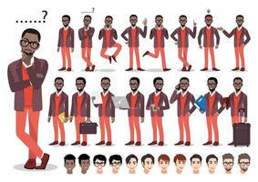 African american businessman cartoon character set. Handsome business man in smart suit . Vector illustration