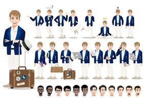 Businessman cartoon character set. Handsome business man in smart suit and classic travel bag. Vector illustration