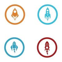 Rocket logo  icons set vector