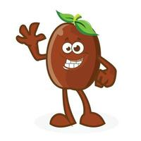 Coffe Bean Men Mascot is Waving With a Smile vector
