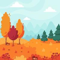 Autumn landscape with trees, mountains, fields, leaves. Countryside landscape. vector