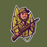 Hunter with rifle. Concept art of hunting in cartoon style. vector