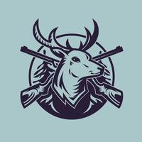 Deer head with rifles. Concept art of hunting in monochrome style. vector