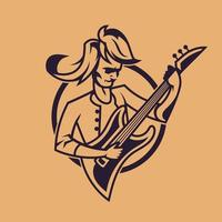 Man playing guitar. Concept art of rock'n'roll in monochrome style. vector