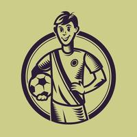 Soccer player holding ball. Concept art of football in monochrome style. vector