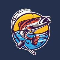 salmón con varilla giratoria. arte conceptual de la pesca en estilo de dibujos animados. vector