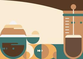 Banner template with french press. vector