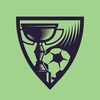 Sports cup with ball. Concept art of football in monochrome style. vector