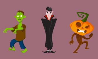 Set of monsters in different poses. vector