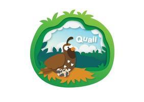 Alphabet Letter Q-quail,paper cut concept vector illustration