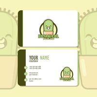 Business Card Design Botanical Theme  with Cute Cactus Character vector