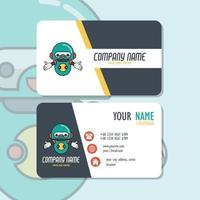 Vector Graphic of Business Card Design, with cute mascot robot logo. Perfect to use for lab computer