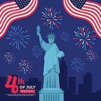 Statue of Liberty on 4th July Celebration vector