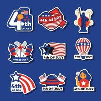 America Independence Day Stickers vector