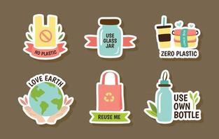 No Plastic Campaign Sticker Collection vector