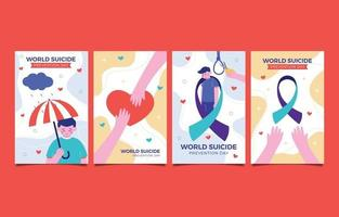 World Suicide Prevention Day Card Collection vector
