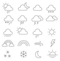 Set of line weather icons. Stroke vector illustration on a white background.