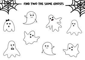 conjunto de lindos fantasmas de halloween. Encuentra dos fantasmas iguales. juego educativo para niños. hoja de trabajo imprimible. vector