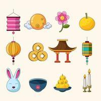 Chuseok Mid Autumn Icon vector
