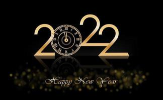 Happy New Year 2022 with Luxury Clock New Year Shining background with gold clock. vector