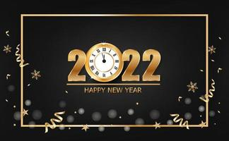 Happy new year 2022 banner with gold clock on black background vector