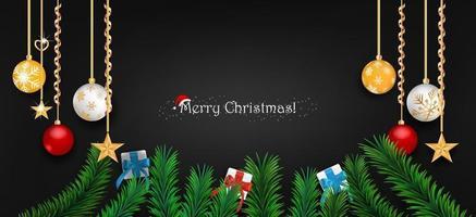 Merry Christmas banner on black background vector