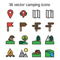 Set of camping, travelling and nature icons vector