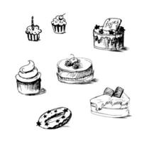Illustration of cakes by sketch, bakery sticker vector