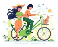 un hombre y su novia andan en bicicleta en un parque, un jardín sombreado, un ambiente muy agradable vector