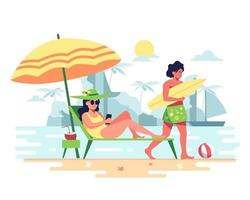 Couple on vacation, going to the sea, sunbathing, surfing board vector