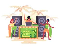 DJ plays music on the beach with loud speakers Teenagers dancing merrily vector