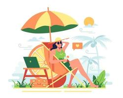 A girl who takes a vacation at the beach On a bright day vector